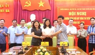 Hội nghị ký kết phối hợp tuyên truyền giữa Đài Phát thanh và Truyền hình tỉnh với Báo Phú Thọ và huyện ủy Thanh Ba giai đoạn 2021-2026