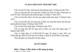 QUYẾT ĐỊNH Quy định một số nội dung về cấp giấy phép xây dựng trên địa bàn tỉnh Phú Thọ