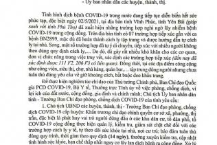CÔNG ĐIỆN Về việc tăng cường phòng, chống dịch bệnh Covid-19 của Chủ tịch UBND tỉnh Phú Thọ