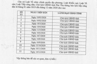 THÔNG BÁO: Lịch tiếp công dân của Chủ tịch UBND tỉnh Phú Thọ năm 2020